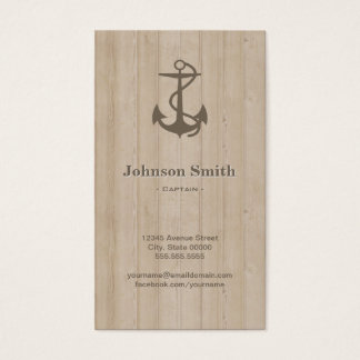 Captain - Nautical Anchor Wood Business Card