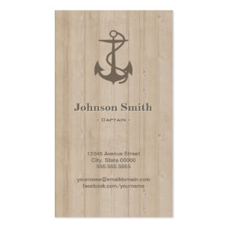 Captain - Nautical Anchor Wood Double-Sided Standard Business Cards (Pack Of 100)
