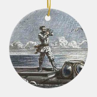Captain Nemo Verne 20,000 Leagues Illustration Ceramic Ornament
