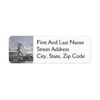 Captain Nemo Verne 20,000 Leagues Illustration Return Address Label