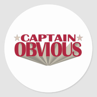 Captain Obvious Classic Round Sticker