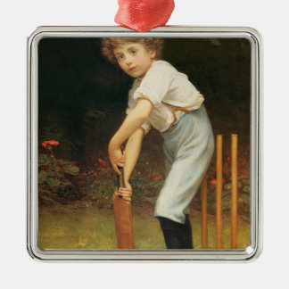 Captain of the Eleven, c.1889 Square Metal Christmas Ornament