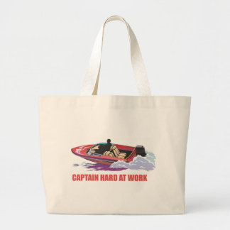 Captain on his boat at high speed, water splashing large tote bag