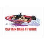 Captain on his boat at high speed, pee splashing postcard
