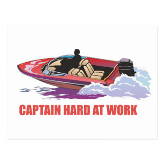 Captain on his boat at high speed, water splashing postcard