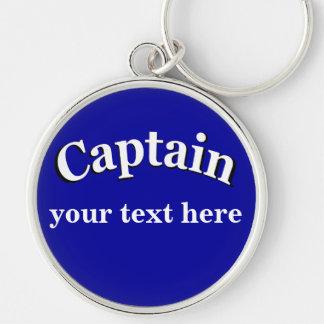 Captain para personalizar llavero redondo plateado