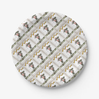 captain red white stripes paper plate