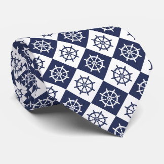 Captain Sailor Ship Steering Wheel Pattern Neck Tie