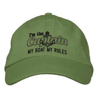Captain says My Boat My Rules Embroidered Baseball Hat