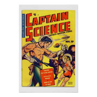 Captain Science Vintage Comic Book Cover Poster