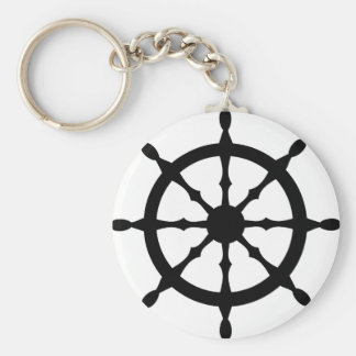 captain ship steering wheel keychain