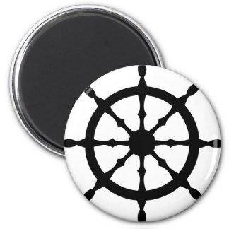 captain ship steering wheel fridge magnet