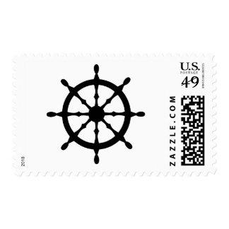 captain ship steering wheel postage