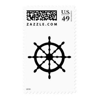 captain ship steering wheel postage stamp