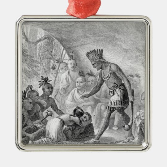Captain Smith rescued by Pocahontas Metal Ornament