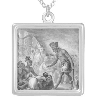 Captain Smith rescued by Pocahontas Silver Plated Necklace