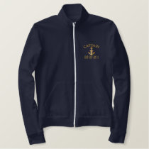 Captain Star Anchor Your Boat Name Your Name Embroidered Jacket