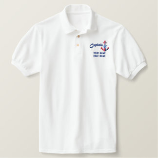 Captain Star Nautical Colors Your Text Embroidered Polo Shirt