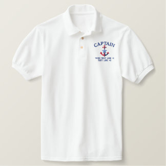 Captain Star Your Boat Name Your Name or Both Embroidered Polo Shirt