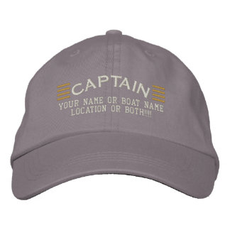 CAPTAIN Stripes Customizable Your Name Boat Local Embroidered Baseball Cap