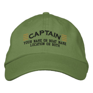 CAPTAIN Stripes Customizable Your Name Boat Local Embroidered Hats