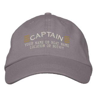 CAPTAIN Stripes Customizable Your Name Boat Local Baseball Cap