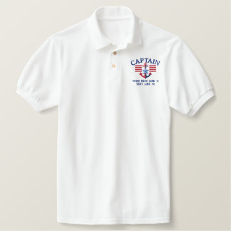 Captain Stripes Star Personalized Your Text Embroidered Polo Shirt