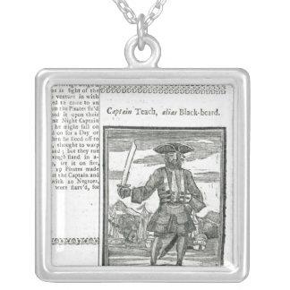 Captain Teach, Alias Black Beard Square Pendant Necklace