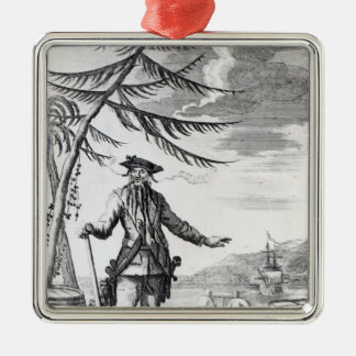 Captain Teach, commonly called Blackbeard Square Metal Christmas Ornament