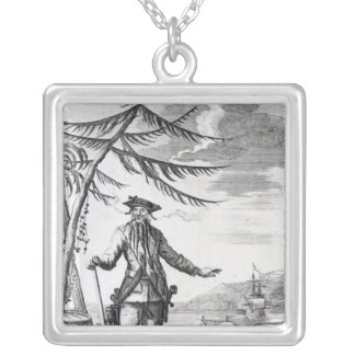 Captain Teach, commonly called Blackbeard Square Pendant Necklace