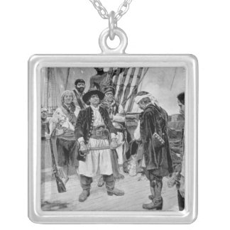 Captain Tongrelow Took the Biggest, illustration Square Pendant Necklace