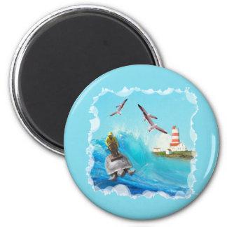 Captain Turtle 2 Inch Round Magnet