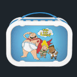 """Captain Underpants   Tra-La-Laaaa! Lunch Box<br><div class=""""desc"""">Check out Captain Underpants saluting with his catchphrase &quot;Tra-la-laaaa!&quot; while Harold and George laugh beside him. Customize your own Captain Underpants gear by adding your own text or resizing the art to focus on your favorite part!</div>"""