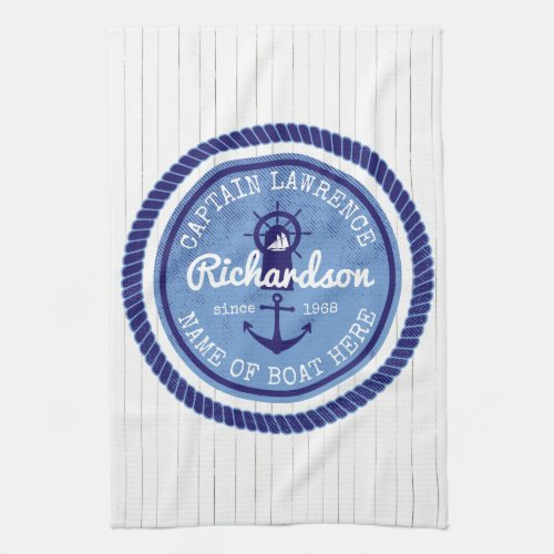 Captain Vintage Nautical Rope Anchor Helm Boat Hand Towel