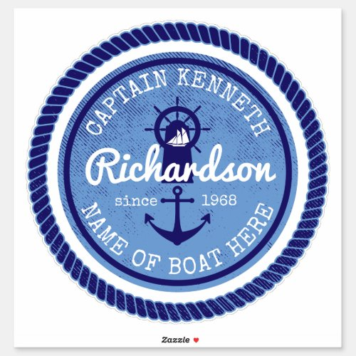 Captain Vintage Nautical Rope Anchor Helm Boat Sticker