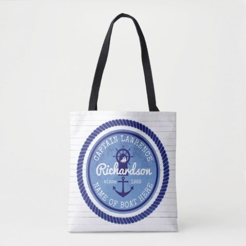 Captain Vintage Nautical Rope Anchor Helm Boat Tote Bag