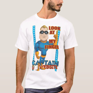 Captain Website says LOOK AT MY FINGER T-Shirt