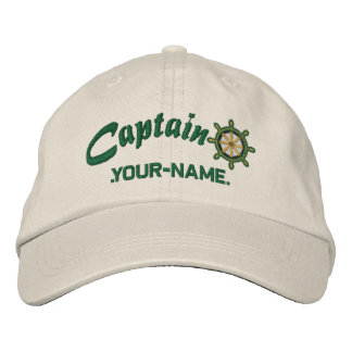 CAPTAIN Wheel Customizable Your Name Vessel Baseball Cap