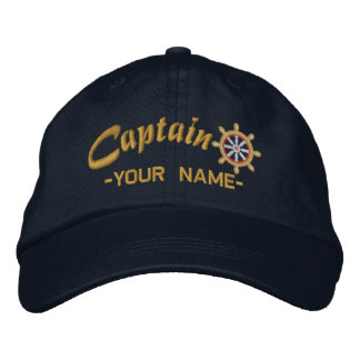 CAPTAIN Wheel Customizable Your Name Vessel Embroidered Baseball Caps