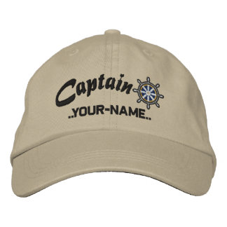 CAPTAIN Wheel Customizable Your Name Vessel Embroidered Hats