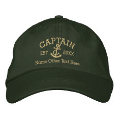 Captain With Anchor Personalized Embroidered Baseball Hat at Zazzle