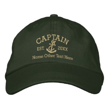 Ricaso_Graphics Captain With Anchor Personalized Embroidered Baseball Hat