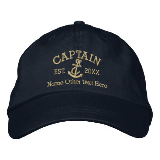 Captain With Anchor Personalized Embroidered Hats
