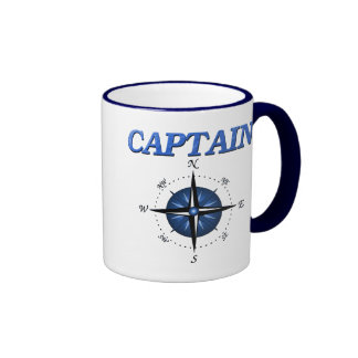 Captain with Blue Compass Rose Ringer Coffee Mug