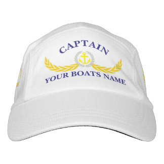 Captain with boat name and anchor hat