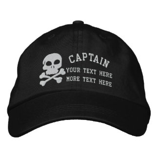 Captain With Skull And Cross Bones customizable Embroidered Hat