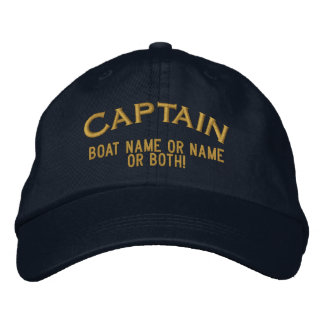 Captain Your Boat Name Your Name or Both! Embroidered Baseball Cap