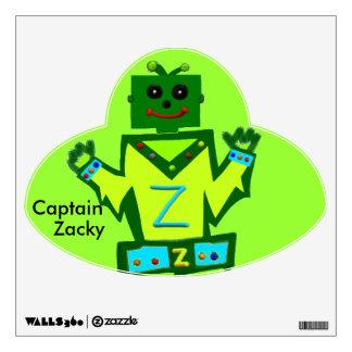 Captain Zacky Boy Robot Green UFO Wall Decal