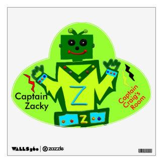 Captain Zacky Boy Robot UFO PERSONALIZE Decal Wall Sticker