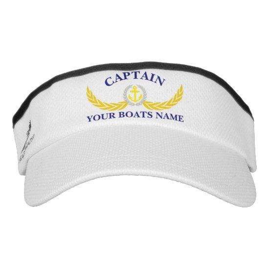 Captains custom boat name anchor motif visor